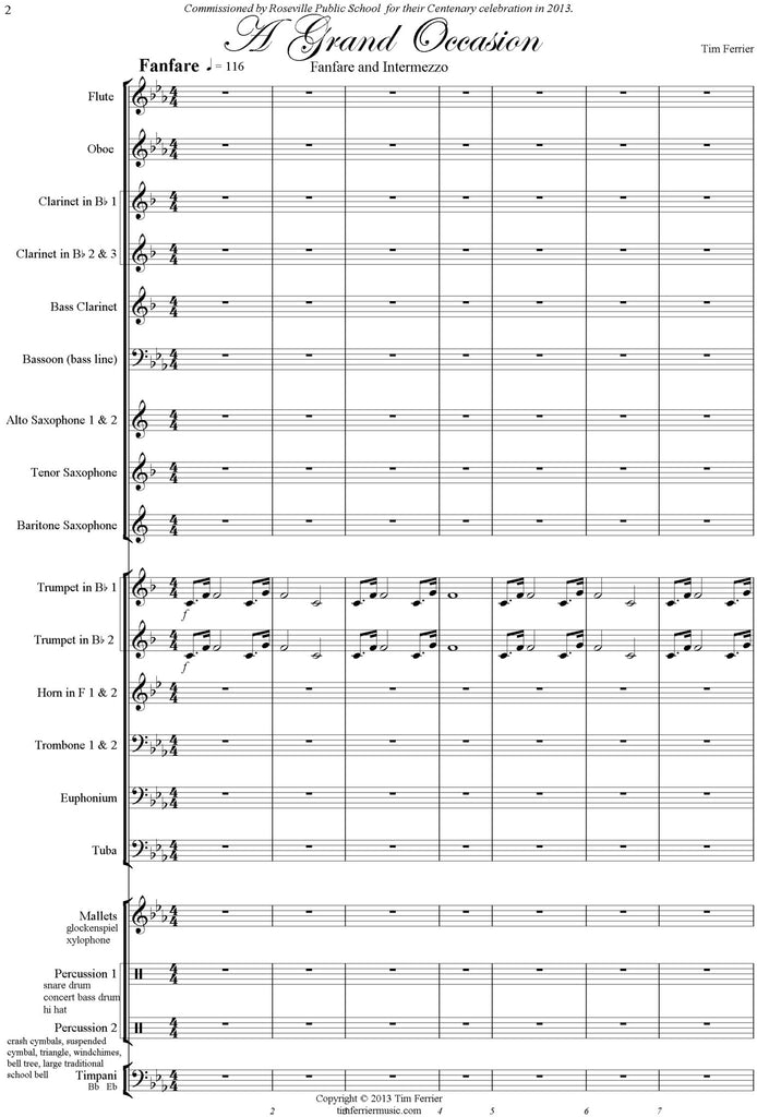 A Grand Occasion concert band wind band blasorchester music by Tim Ferrier pdf download file