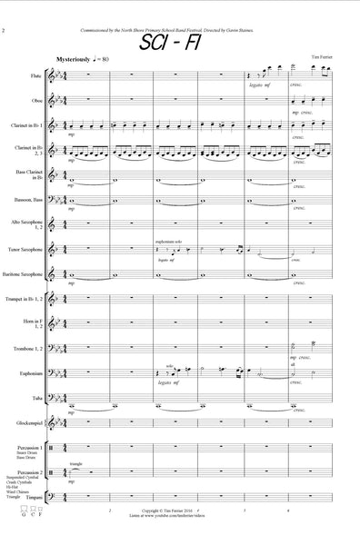 Sci - Fi - music written for concert band, wind band, blasorchester by Tim Ferrier. score, download pdf, conductor, purchase, buy
