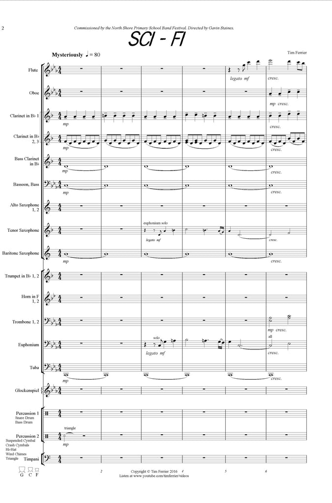 Sci - Fi - music written for concert band, wind band, blasorchester by Australian composer Tim Ferrier. score, pdf, conductor, purchase, buy