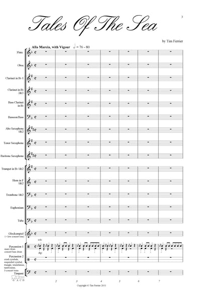 Tales Of The Sea for concert band or wind band by Australian composer Tim Ferrier.