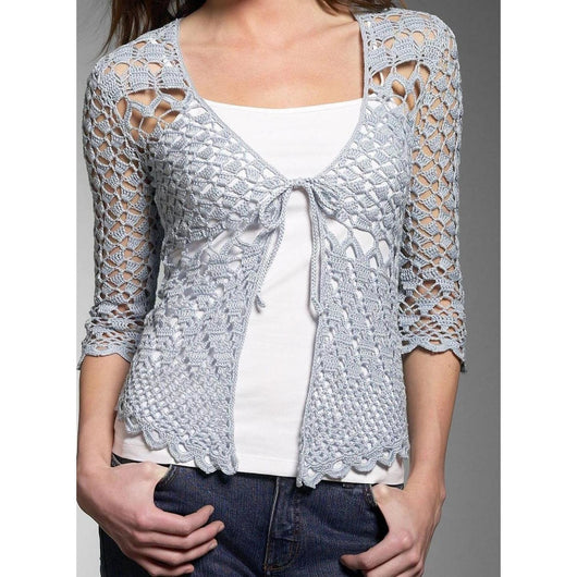 Grey crochet  cardigan - AsDidy fashion