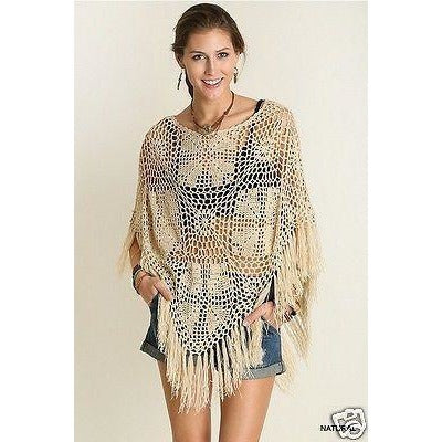 Cream crochet poncho - Crochet clothes