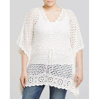 White plus size  women crochet blouse - MADE TO ORDER