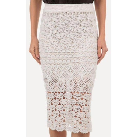 White crochet midi skirt - Crochet clothes