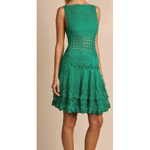 Green crochet summer dress - Crochet clothes