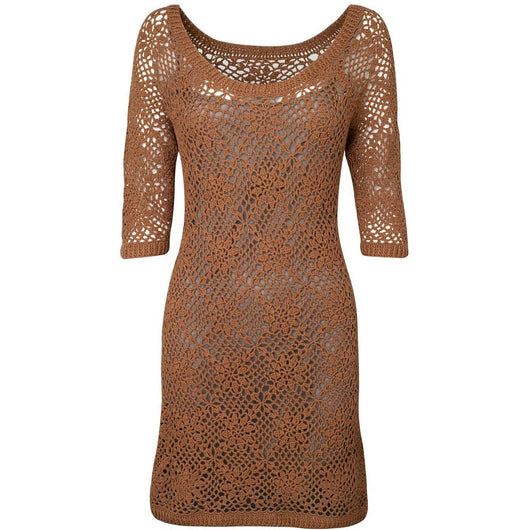 Brown crochet summer dress - AsDidy fashion