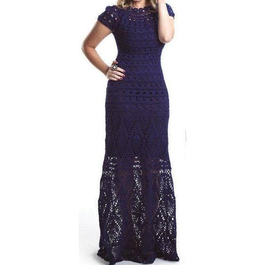Navy blue crochet maxi dress - Crochet clothes