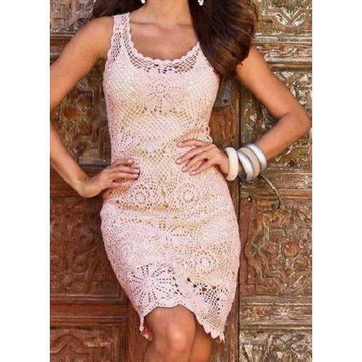 Crochet women summer dress, party dress in white or any color you like - Crochet clothes