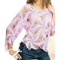 Pink crochet summer women crochet blouse - MADE TO ORDER - AsDidy fashion
