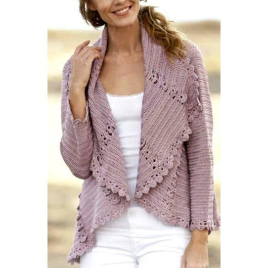 Pale purple crochet  cardigan long sleeves - AsDidy fashion