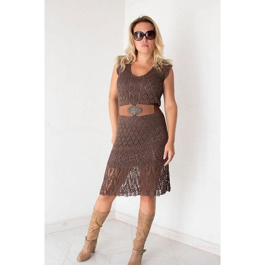 Brown crochet summer dress