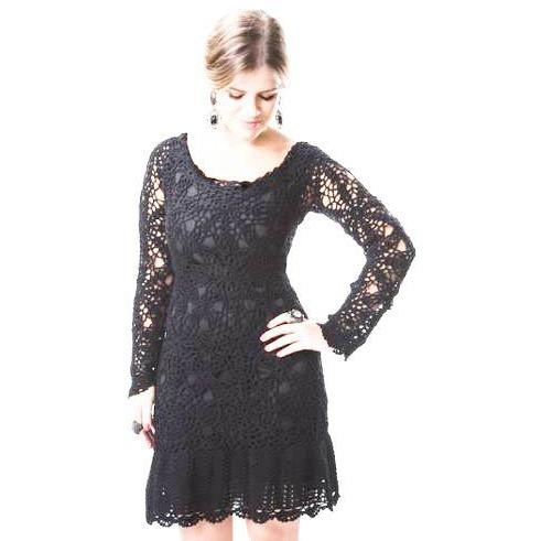 Black crochet cocktail dress - AsDidy fashion