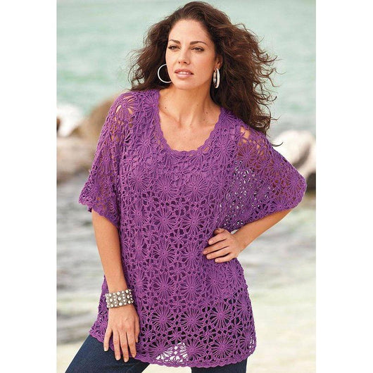 Plus size  women crochet blouse - MADE TO ORDER