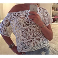 White crochet summer crop top - Crochet clothes