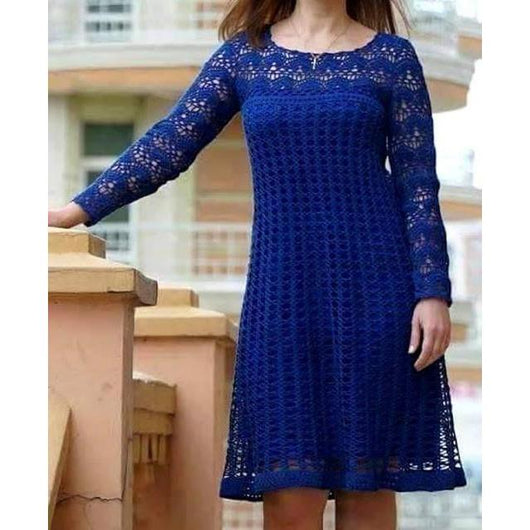 Blue crochet summer dress - AsDidy fashion