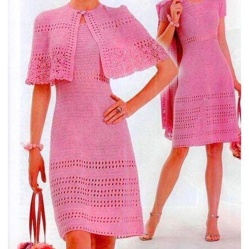 Pink crochet summer dress with a mantle