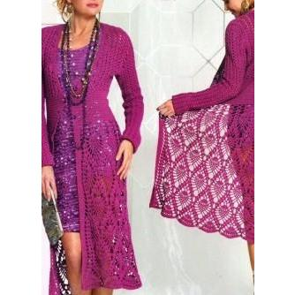 Purple long crochet women cardigan - AsDidy fashion