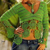 Green crochet summer women crochet blouse - MADE TO ORDER