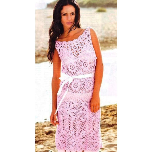 Pink crochet maxi summer dress - AsDidy fashion