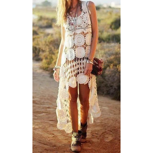 White crochet boho summer dress - AsDidy fashion