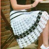 White and black crochet mini skirt - Crochet clothes