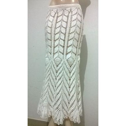 White crochet maxi skirt - Made to order - Crochet clothes