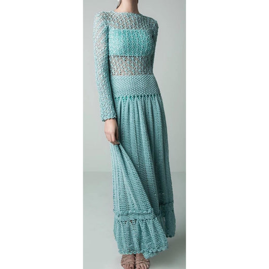 Blue crochet maxi dress - AsDidy fashion