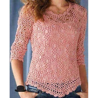Pink crochet summer women crochet blouse - MADE TO ORDER