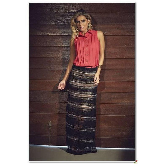 Black crochet maxi skirt - AsDidy fashion