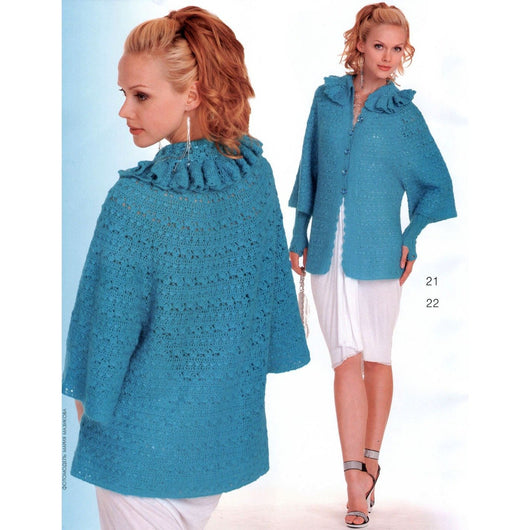 Blue crochet  cardigan - AsDidy fashion