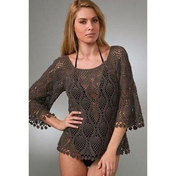 Brown crochet summer women crochet blouse - MADE TO ORDER - AsDidy fashion