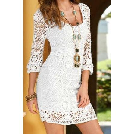 White crochet summer dress - AsDidy fashion