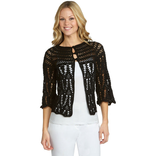 Black crochet  cardigan - AsDidy fashion