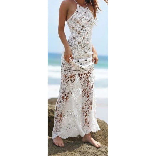 White crochet beach maxi dress - Crochet clothes