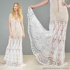White handmade crochet summer wedding handmade bridal dress - Made to order - AsDidy fashion