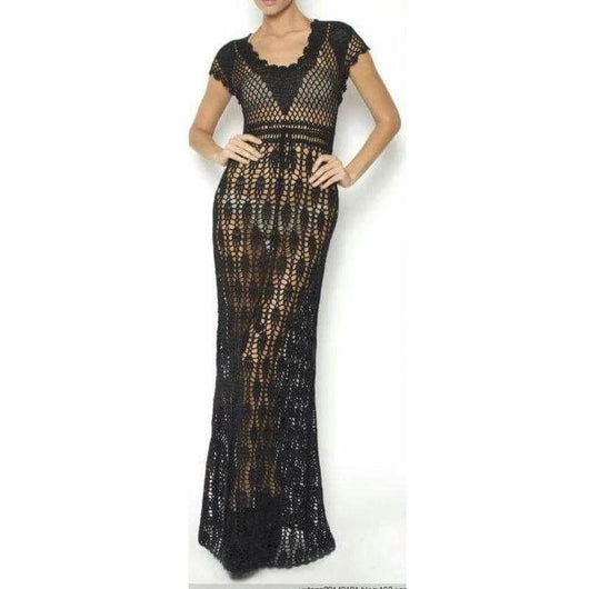 Black crochet maxi dress - AsDidy fashion