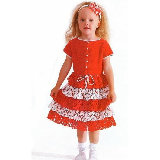 Red Crochet Girls Dress