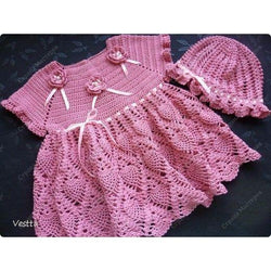 Pink Crochet Baby Dress with a hat - AsDidy fashion