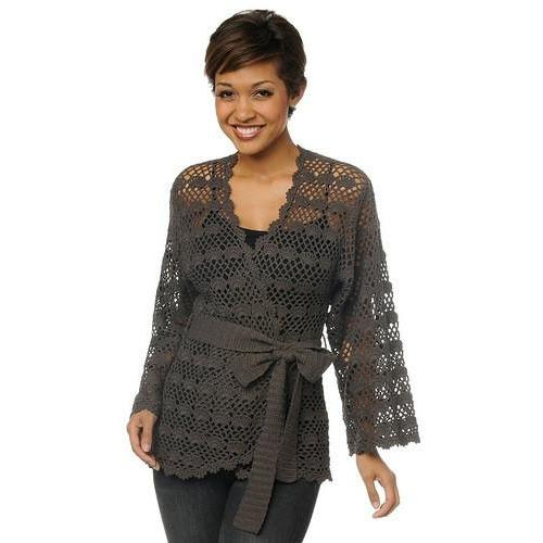 Grey crochet  cardigan long sleeves - AsDidy fashion