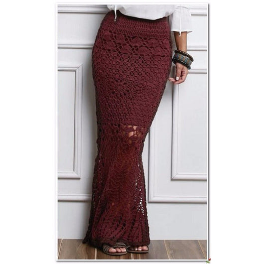 Burgundy crochet maxi skirt - AsDidy fashion