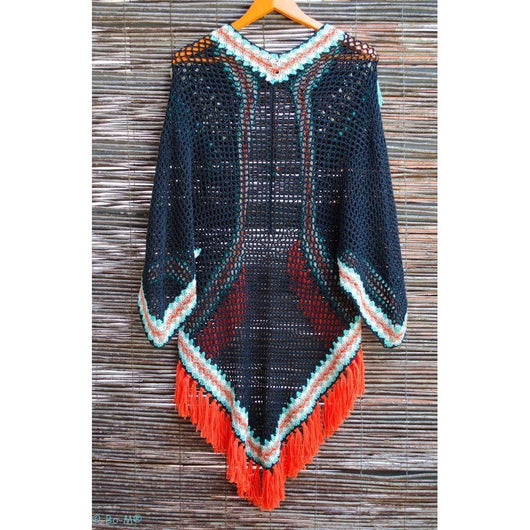 Boho Crocheted Poncho - Crochet clothes