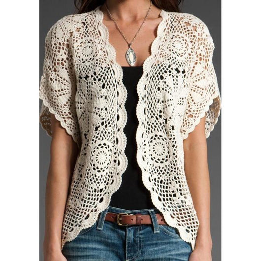 Elegant crochet  cardigan, jacket - AsDidy fashion
