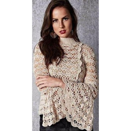 Handmade crochet blouse, bell sleeves - FREE SHIPPING - Crochet clothes