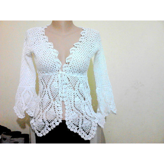 White crochet cardigan - Custom order - AsDidy fashion