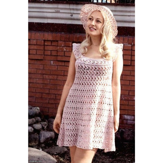 Pale pink crochet mini dress - AsDidy fashion