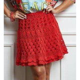 Red crochet mini skirt - Crochet clothes