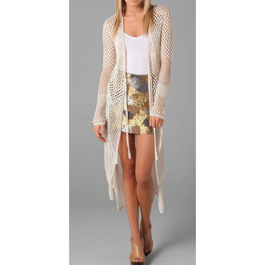 Off white crochet long  cardigan long sleeves - AsDidy fashion