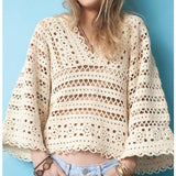 Cream crochet blouse, bell sleeves - FREE SHIPPING