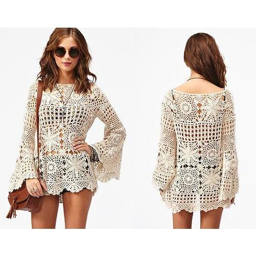 Handmade crochet cute summer women crochet blouse, boho style - MADE TO ORDER - AsDidy fashion