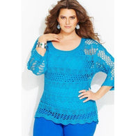 Blue plus size  women crochet blouse - MADE TO ORDER